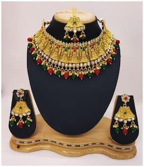 Alloy Gold Kundan;Jadau Necklace with Earrings and Maangtika