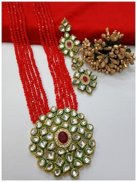 Alloy Red;Gold Kundan Necklace Set