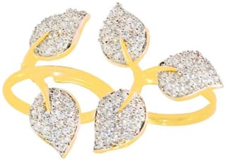 Zcarina Leaf Design American Diamond Double Finger Free Size Ring (Pack Of 5)