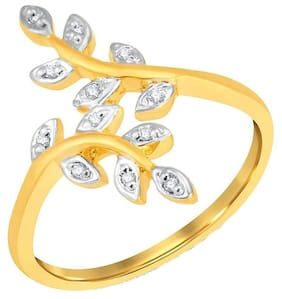 Zcarina Leaf Design Gold Plated American Diamond CZ Adjustable Ring for Women & Girls