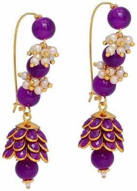 Zcarina Long Purple Pacchi Earrings for Girls and Women