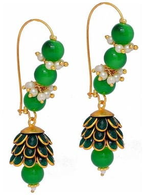 Zcarina Long Green Pacchi Earrings for Girls and Women