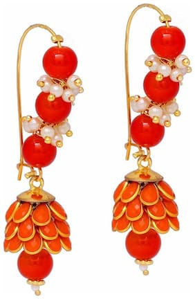 Zcarina Long Orange Pacchi Pearl Earrings for Girls and Women