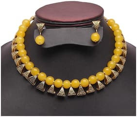 Zcarina Loop Antique Look Yellow Beads Necklace for Women