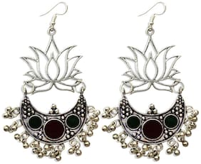 Zcarina Lotus shape Long Afghani Indian Earrings Jewelry for Girls and Women