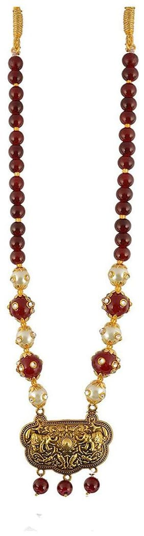 Zcarina Maroon Beads Brass Necklace for Women & Girls