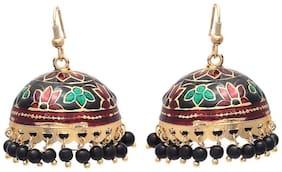 Zcarina Festive Meenakari Black Pearl Enamel Jhumki Earring for Women