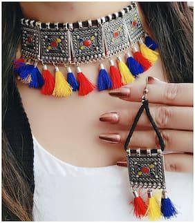 Zcarina Meenakari Tessel Chokar Necklace