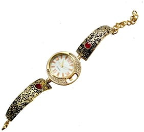 Zcarina Multicolor Gold Plated Charm Bracelet cum Watch For Women
