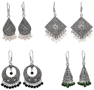 Zcarina Multi Pearl German Silver Jhumki Earring For Women & Girls Its Different