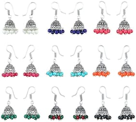 Zcarina Multicolor Silver-Plated Combo Of 9 Jhumki Earrings For Women & Girls