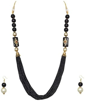 Zcarina Multilayer Rajasthani Beads Work Necklace Earrings Set for Girls and Women