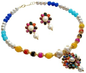 Zcarina Multicolor Pacchi Pearl Necklace With Matching Earrings for Girls and Women