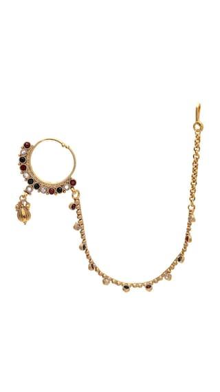 Zcarina Multi Color Non-Precious Metal Strand Nose ring Nath For Women & Girls