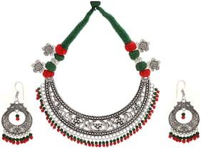 Alloy Multi Colored Choker Necklace