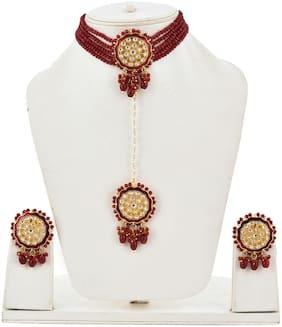 Alloy Maroon;Gold Choker Necklace Set