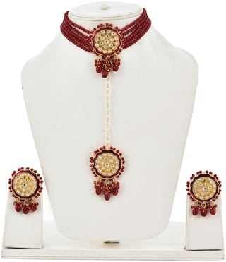 Zcarina Necklace Earrings Mangalsutra Set