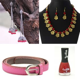 Zcarina Neckalce set for Women with Free Pink Belt and Free Red Nail Polish