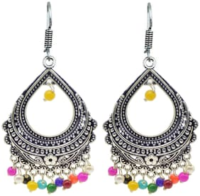 Zcarina Oxidised Silver Multi Color Earring for Girls