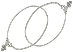 Zcarina Oxidized Silver Anklet Set for Women and Girls Pack of Two (ANK-85-SIL4)