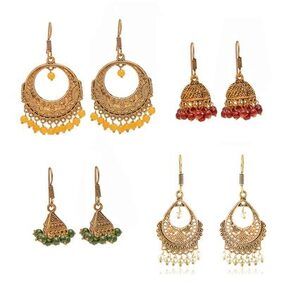 Zcarina Oxidized Metal Gold Finish Women Fashion Jhumka Jhumki Earrings Combo Set of 4 Earring Pair