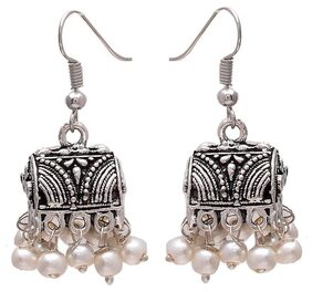 Zcarina Oxidised Silver Plated Jhumki Earrings for Girls and Women