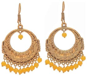Zcarina Oxidized Metal Gold Finish Chandbali Jhumka Jhumki Earrings for Girls
