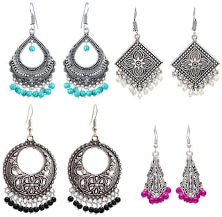 Zcarina Oxidized GS Antique Look Chandbali Jhumka Jhumki Earring Combo For Women & Girls Set of 4