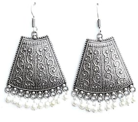 Zcarina Oxidised Silver Plated Pretty Jhumki Earring set for Women and Girls