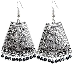 Zcarina Oxidised Silver with Black Beads Jhumka Jhumki Earring set for Women and Girls