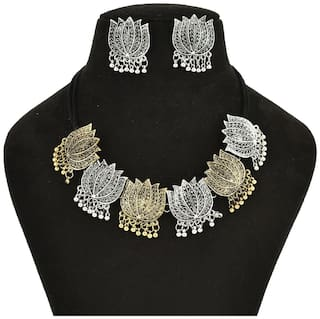Zcarina Oxidised necklace Set for Girls and Women