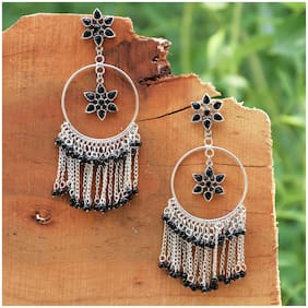 Zcarina Oxidised Black Beads Stones Earrings for Girls