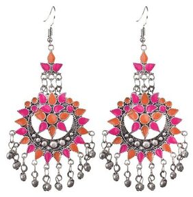 Zcarina Oxidized Silver Plated Afghani Earring Set For Women and Girls