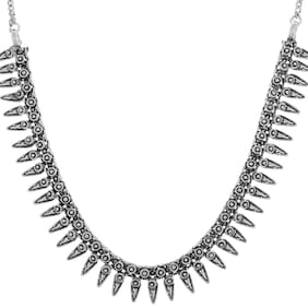 Zcarina Oxodised Silver Strand Necklace for Women and Girls