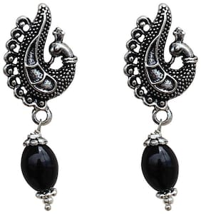 Zcarina Peacock Shape GS Silver Oxidised Black Pearl Drop Earring