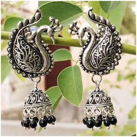Zcarina Peacock Tops with Jhumki Earrring for Girls and Women