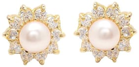 Zcarina Pearl With American Diamond Floral Earring For Women And Girls