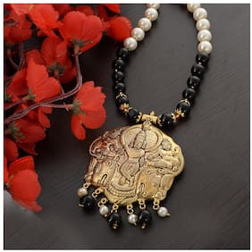 Alloy;Beads Black;Gold Temple Necklace