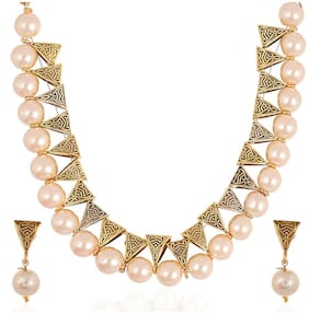 Zcarina Pearl Choker Traditional Necklace Set with Earrings For Girls and Women