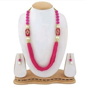 Zcarina Pink Beads Traditional Necklace