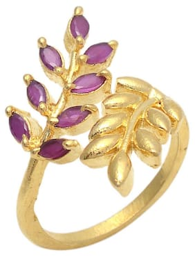 Zcarina Pink Color Stone Leaf Design Free Size Ring