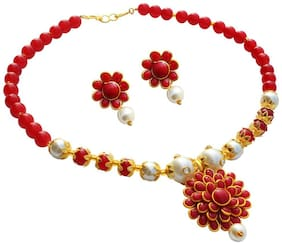 Zcarina Red Pacchi Pearl Necklace With Matching Earrings for Girls and Women