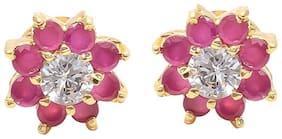 Zcarina Red Stone Earring With Floral Tipe For Woman & Girls
