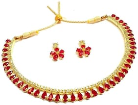Zcarina Red-color Stone Gold Plated Necklace with Earring set for Women and Girls