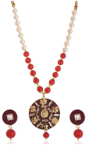 Zcarina Red Bead Pendant Necklace Jewellery Set With Earrings For Women