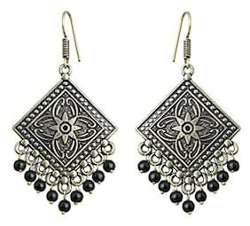 Zcarina Silver Oxidised Earrings for Girls and Women