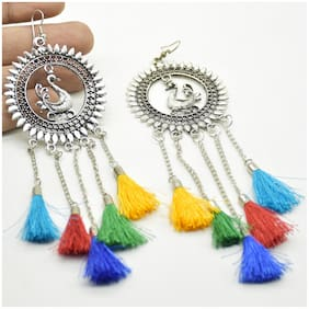 Zcarina Silver Plated Oxidised Peacock Designer Tessel Earring for Girls