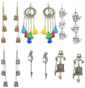 Zcarina Silver Golden Oxidised Earrings Combo of 6 Pairs