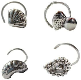 Zcarina Silver Oxidised Nose Pin Combo of 4 for Girls and Women