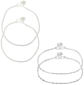Zcarina Silver Plated Anklet Payal Pairs Set of 2 Pairs